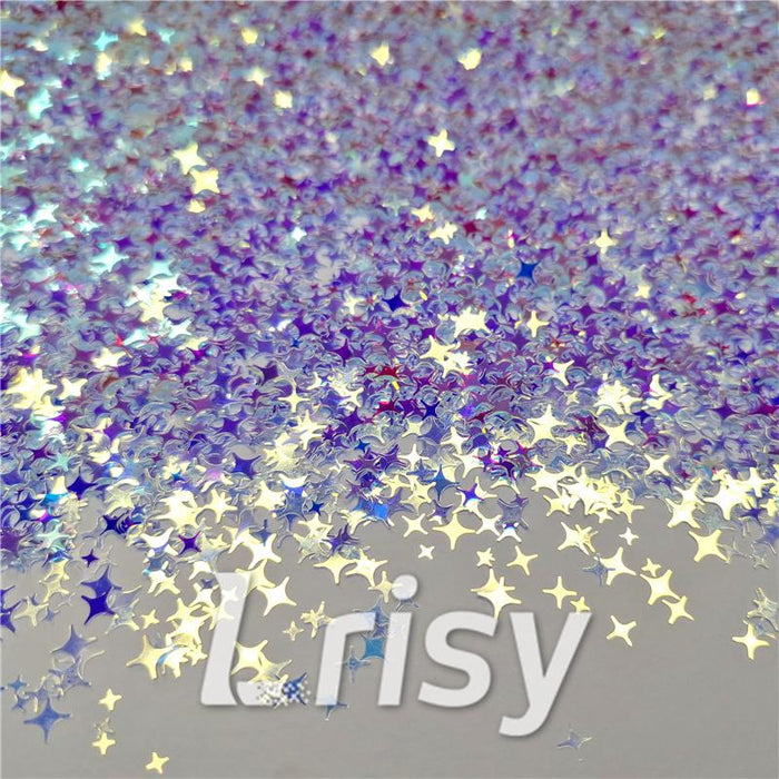 3/4/5mm Four Pointed Star Mixed Royal Blue Iridescent Glitter F321A