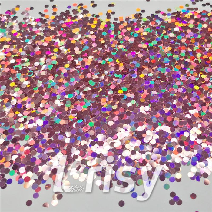 3mm Round Shaped Holographic Hazy Pink Glitter LB0911
