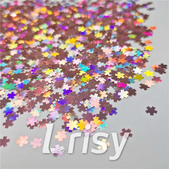 5mm Cherry Blossoms  (Sakura) Shaped Holographic Hazy Pink Glitter LB0911