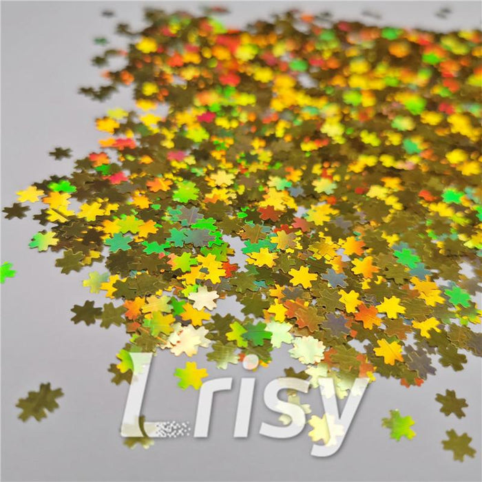 5mm Cherry Blossoms Shaped Holographic Gold Glitter LB0210