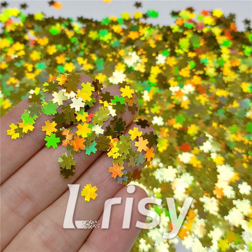 5mm Cherry Blossoms (Sakura) Shaped Holographic Gold Glitter LB0210