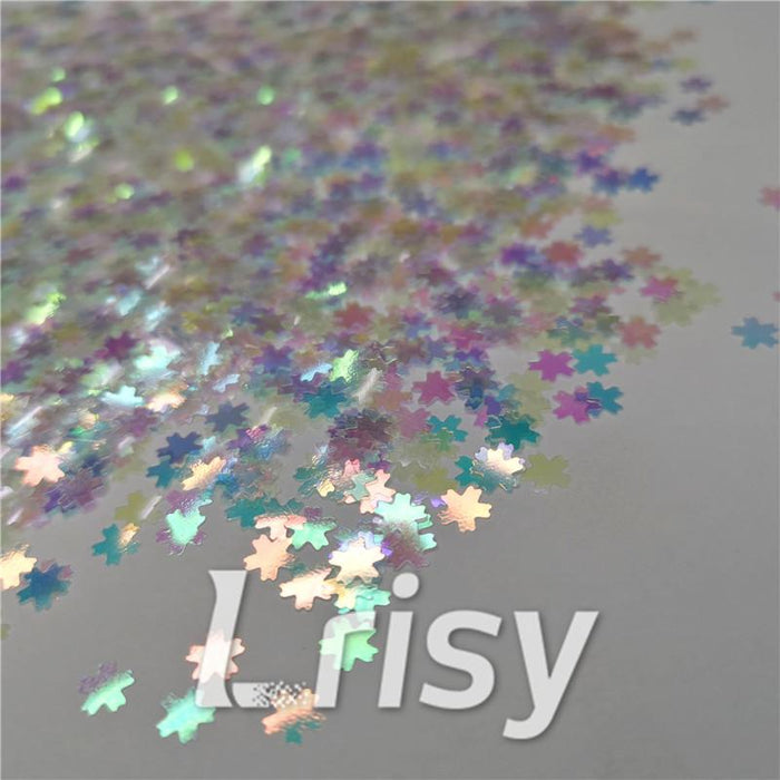 5mm Cherry Blossoms  (Sakura) Shaped Iridescent Rainbow Glitter C022