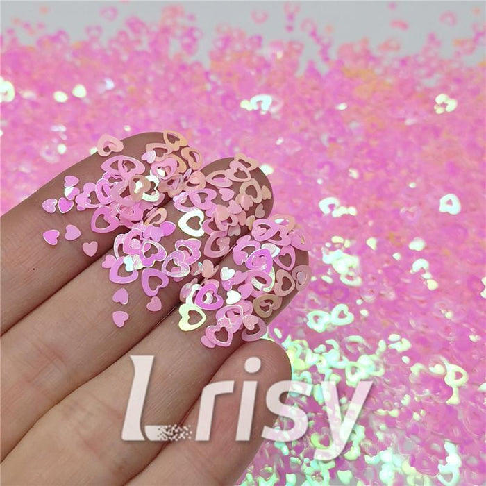 4mm Hollow Out Heart Shaped Iridescent Rose Pink Glitter C018R