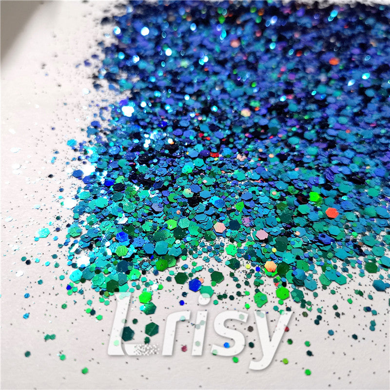 Mixed Hexagon Phantom Iridescent Glitter XLL010A
