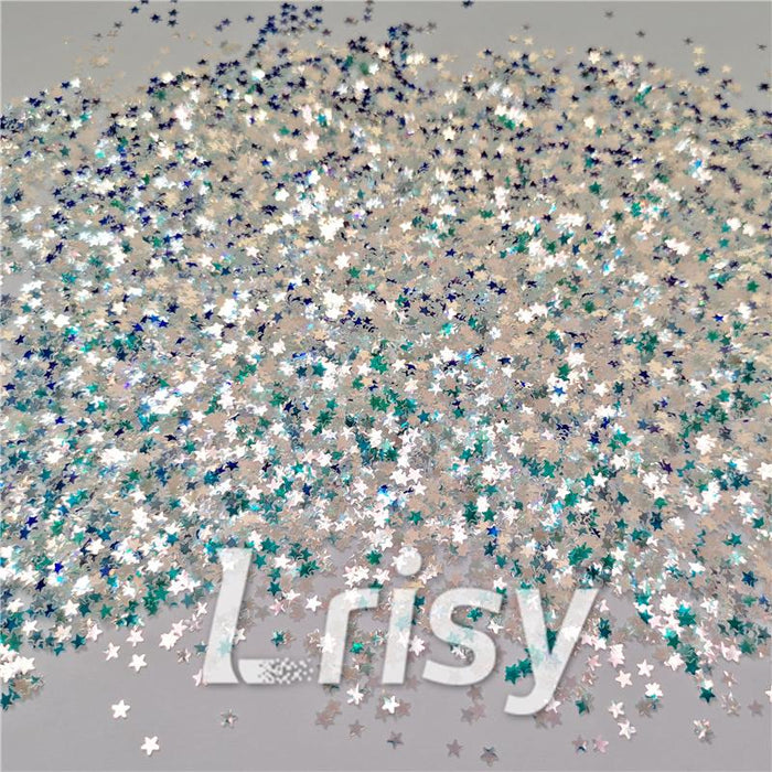 3mm Star Shaped Green Iridescent Glitter LZ321A