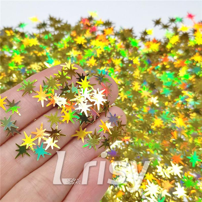 Eight Pointed Star Shapes Laser Gold Glitter LB0210