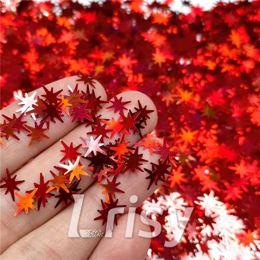 Eight Pointed Star Shapes Laser Red Glitter LB0300