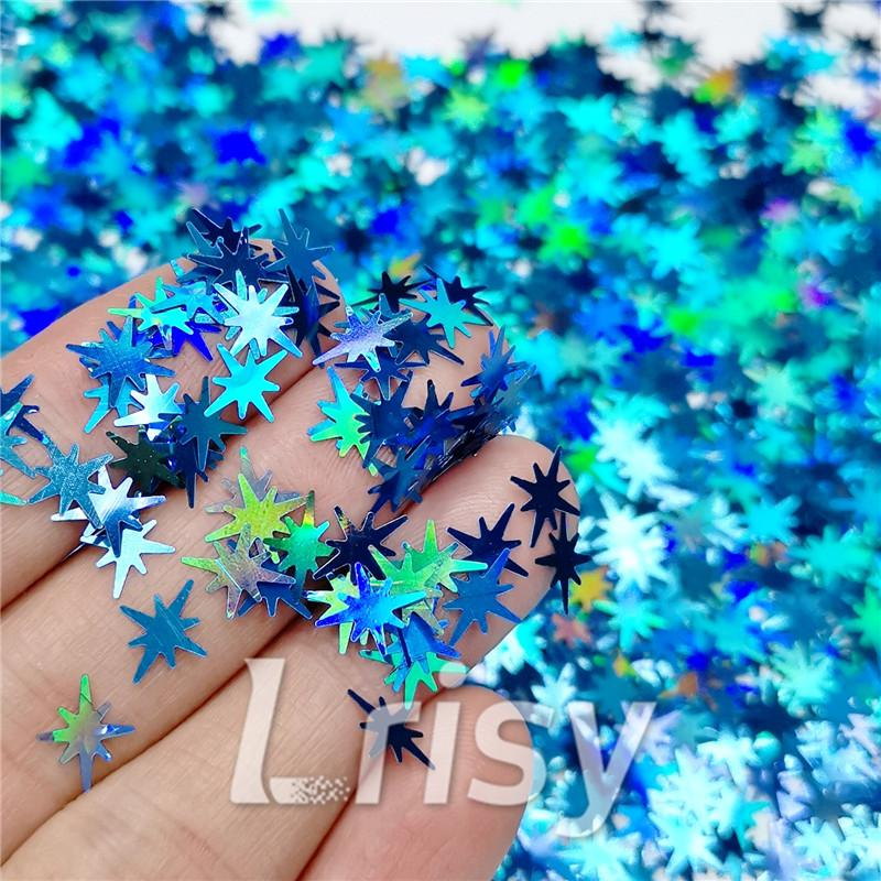 Eight Pointed Star Shapes Laser Sky Blue Glitter LB0700