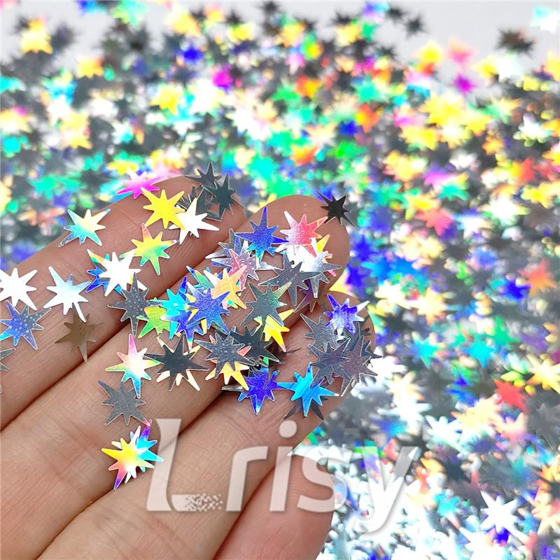 Eight Pointed Star Shapes Laser Silver Glitter LB0100