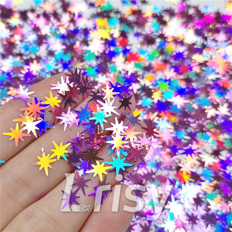 Eight Pointed Star Shapes Laser Pink Glitter LB0901