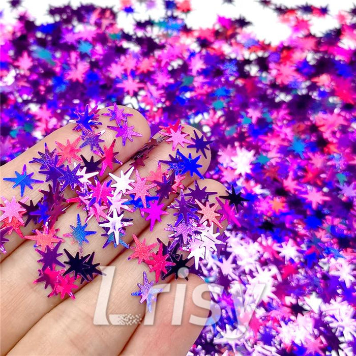 Eight Pointed Star Shapes Laser Purple Glitter LB0800