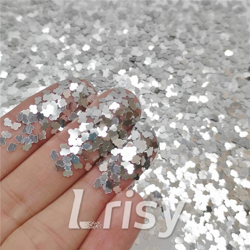 Cloud Shapes Silver Glitter B0100