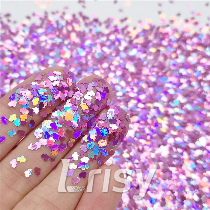 Cloud Shapes Laser Pink Glitter LB0901