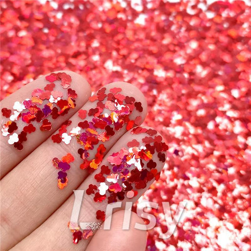 Cloud Shapes Laser Red Glitter LB0300
