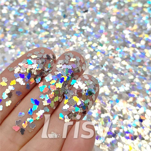 Cloud Shapes Laser Silver Glitter LB0100