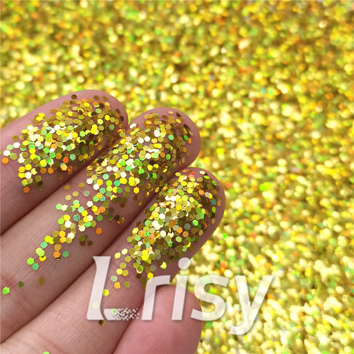 1mm Hexagon Shapes Laser Gold Glitter LB0210