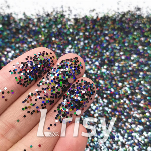 1mm Hexagon Shapes Laser Black Glitter LB01000