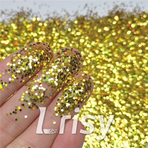 1mm Hexagon Shapes Gold Glitter B0203