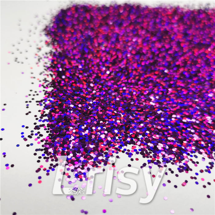 1mm Hexagon Shapes Laser Purple Glitter LB0800
