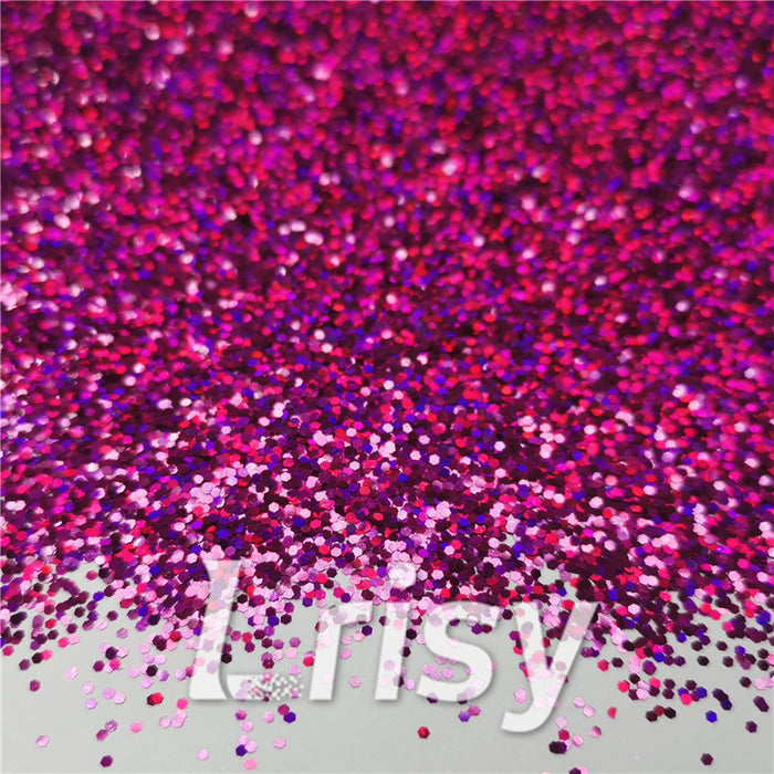 1mm Hexagon Shapes Laser Rose Red Glitter LB0900