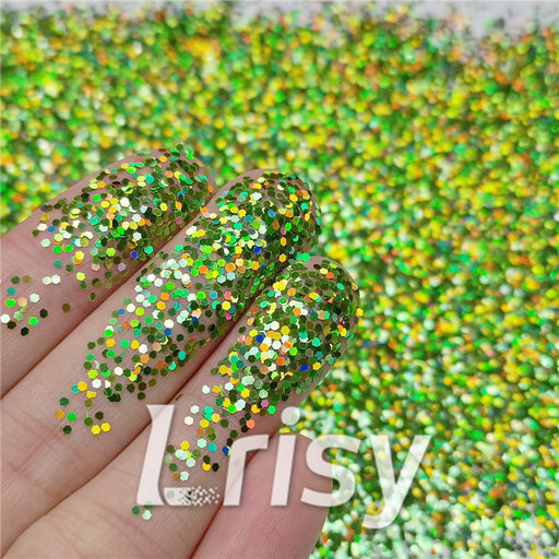 1mm Hexagon Shapes Laser Green Glitter LB0601