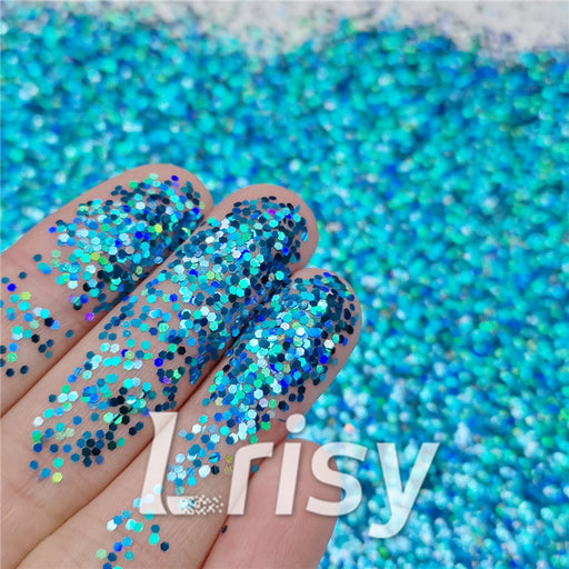 1mm Hexagon Shapes Laser Sky Blue Glitter LB0700