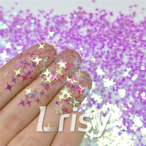 3/4/5mm Four Pointed Star Mixed Light Purple Iridescent Glitter LC-F322R