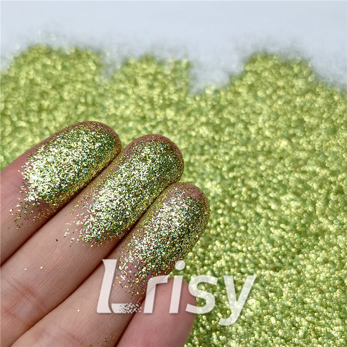 0.2mm Holographic Pigment Golden Green Glitter Cosmetic Grade SLG007
