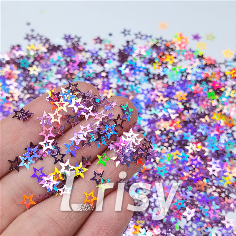 Holographic Pink Hollow Out Star Shaped Glitter LB0901