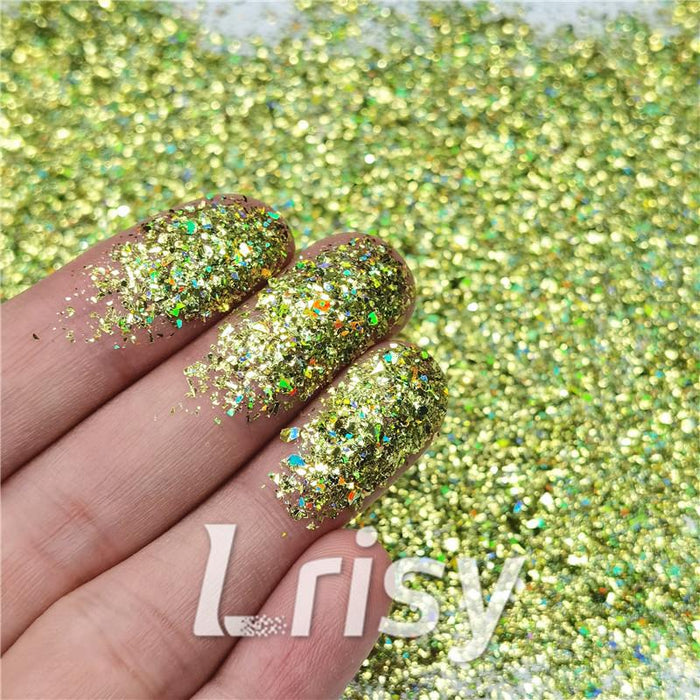 Cellophane Flakes Shard Holographic Pigment Golden Green Glitter Solvent Resistant SLG007