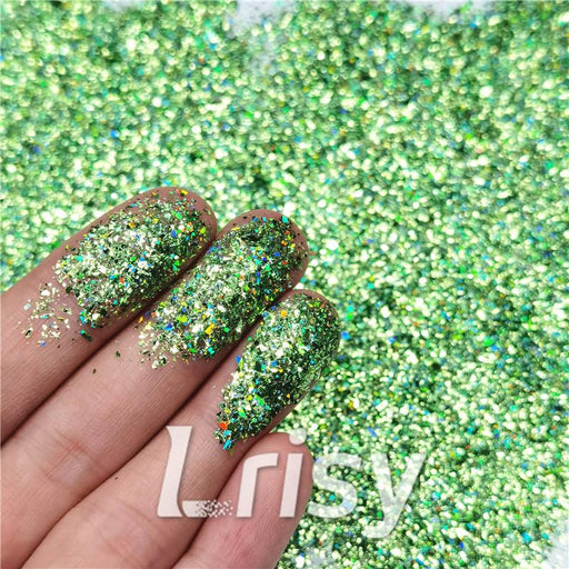 Cellophane Flakes Shard Holographic Pigment Grass Green Glitter Solvent Resistant SLG008
