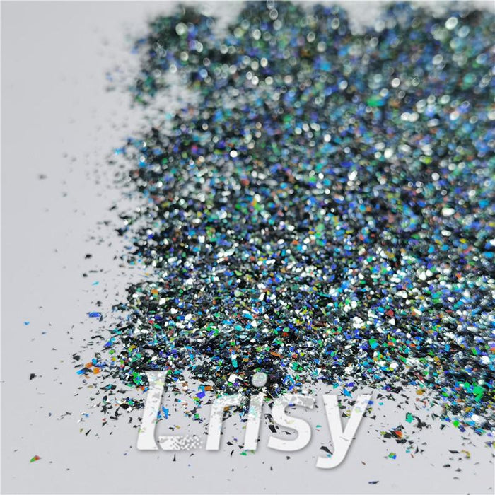 Cellophane Flakes Shard Holographic Pigment Dark Grey Glitter Solvent Resistant SLG011