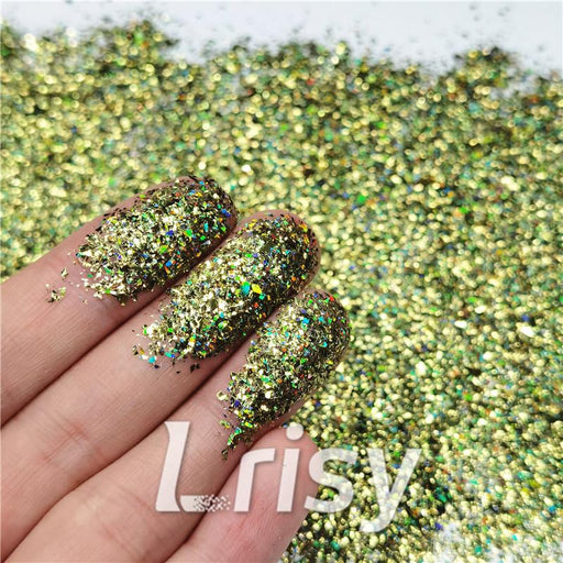 Cellophane Flakes Shard Holographic Pigment Olive Green Glitter Solvent Resistant SLG010