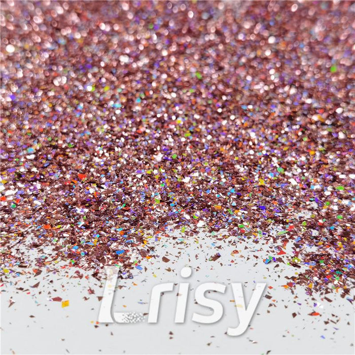 Cellophane Flakes Shard Holographic Pigment Pink Glitter Solvent Resistant SLG006
