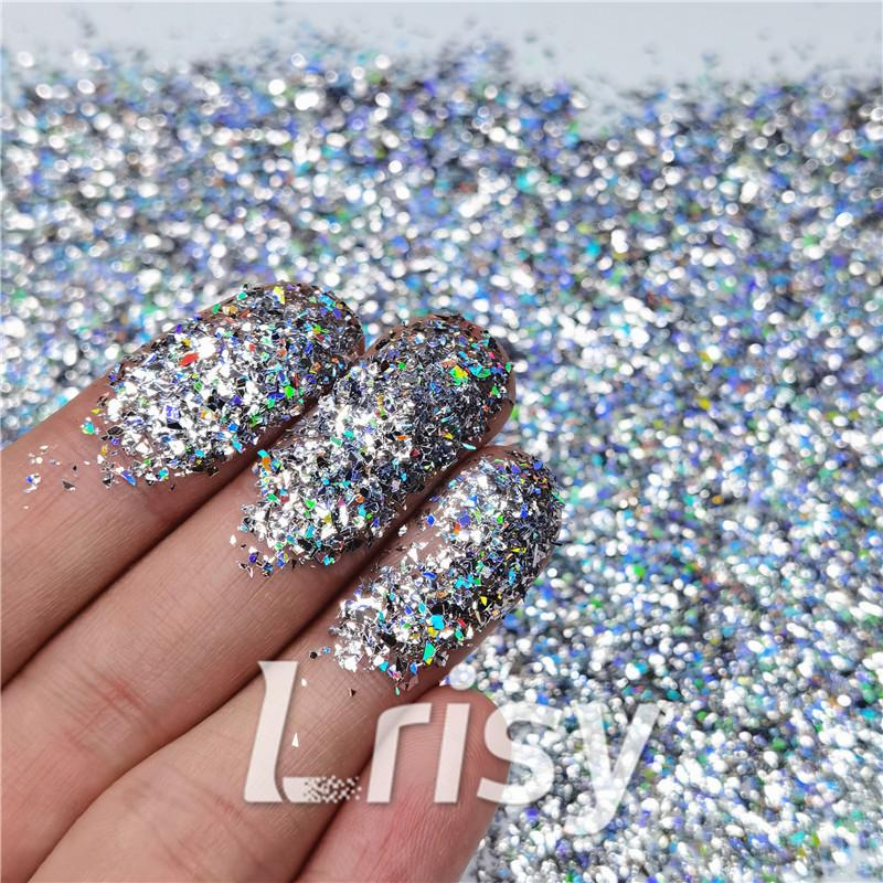 Cellophane Flakes Shard Holographic Pigment Silver Glitter Solvent Resistant SLG001