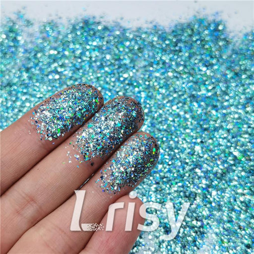 Cellophane Flakes Shard Holographic Pigment Sky Blue Glitter Solvent Resistant SLG009