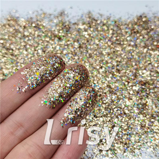 Cellophane Flakes Shard Holographic Pigment Sand Gold Glitter Solvent Resistant SLG002