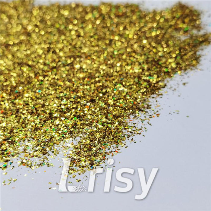 Cellophane Flakes Shard Holographic Pigment Gold Glitter Solvent Resistant SLG003