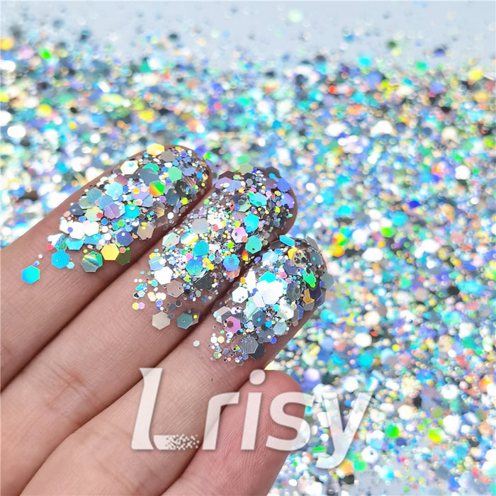 General Mixed Holographic Silver Glitter Hexagon Shaped LB0100