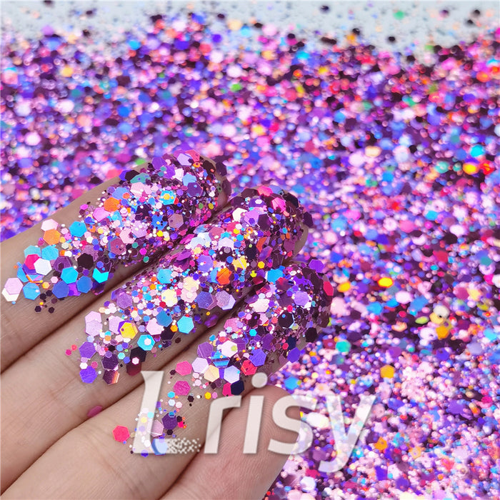 General Mixed Holographic Pink Glitter Hexagon Shaped LB0901