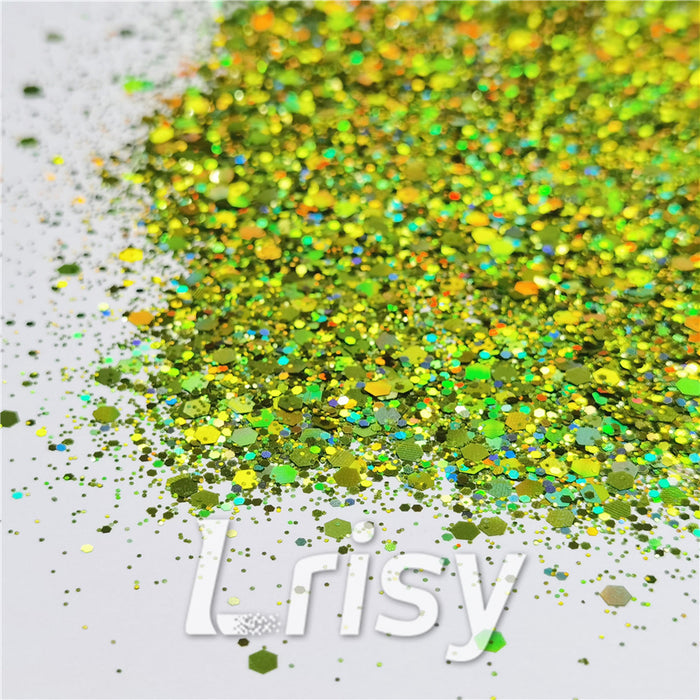 General Mixed Holographic Grass Green Glitter Hexagon Shaped LB0601