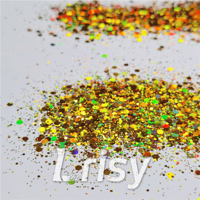 General Mixed Holographic Red Gold Glitter Hexagon Shaped LB0200