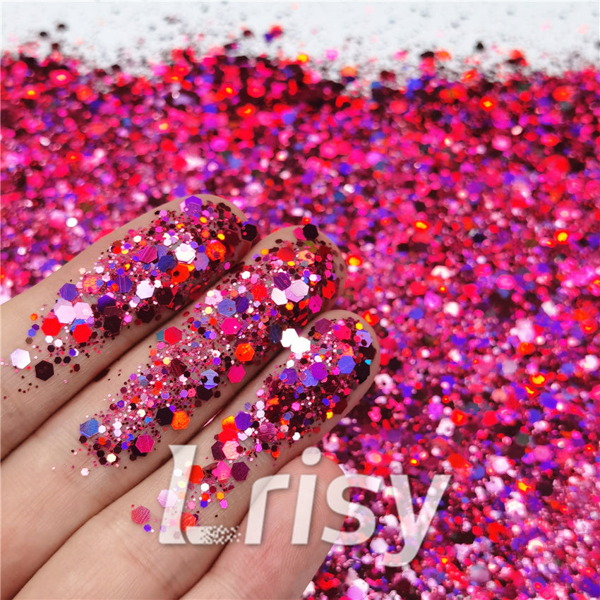 General Mixed Holographic Rose Red Glitter Hexagon Shaped LB0912