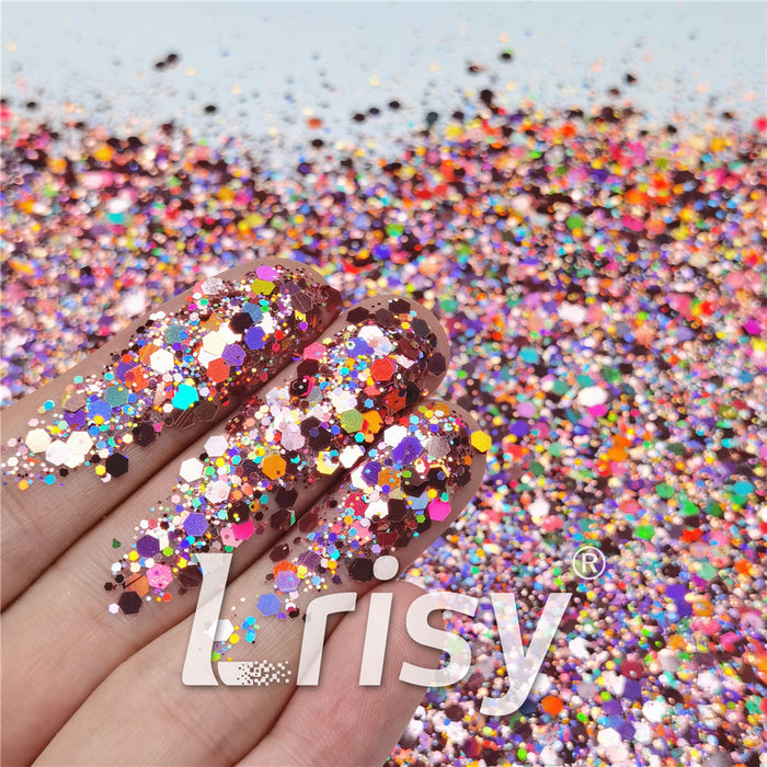 General Mixed Holographic Hazy Pink Glitter Hexagon Shaped LB0911