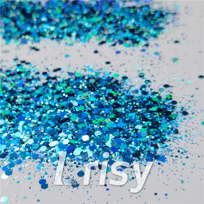General Mixed Holographic Sky Blue Glitter Hexagon Shaped LB0700