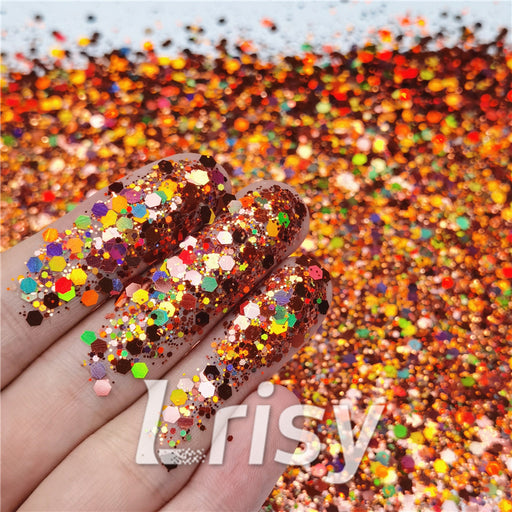 General Mixed Holographic Copper Glitter Hexagon Shaped LB0400