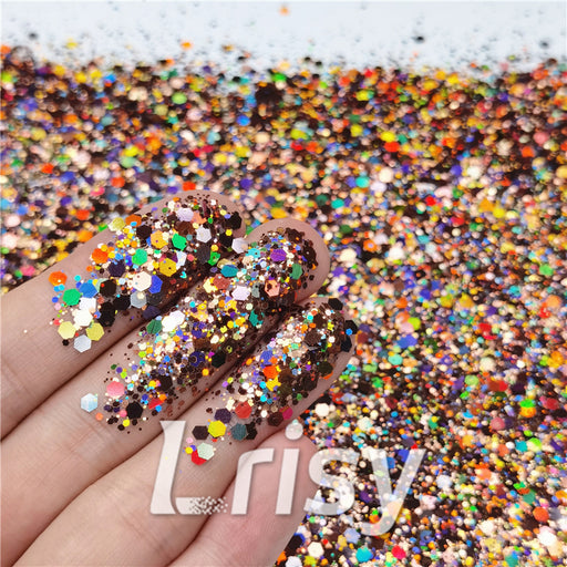 General Mixed Holographic Brown Glitter Hexagon Shaped LB0406