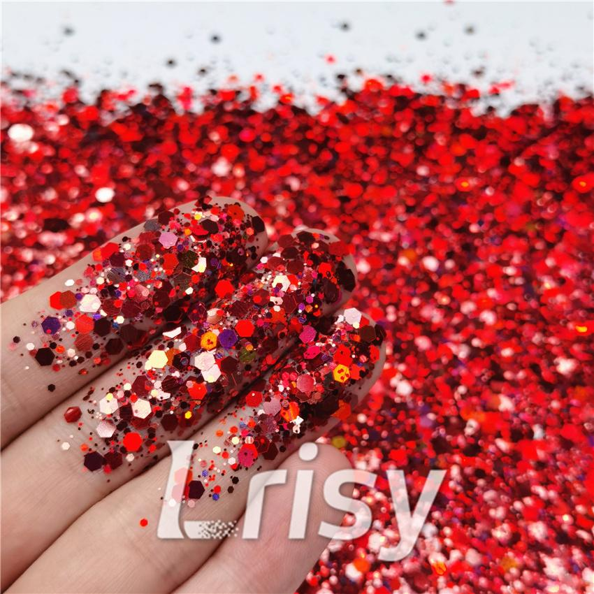 General Mixed Holographic Red Glitter Hexagon Shaped LB0300