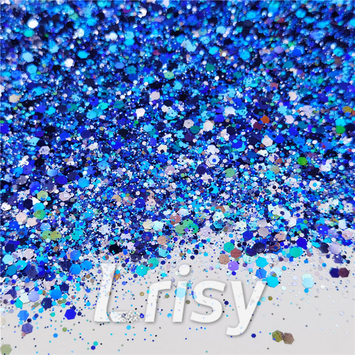 General Mixed Holographic Deep Blue Glitter Hexagon Shaped LB0705