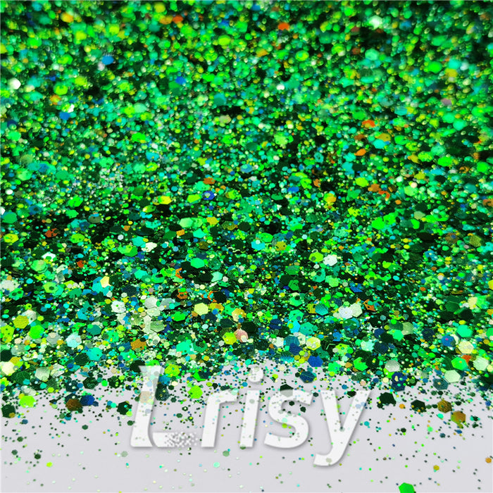 General Mixed Holographic Green Glitter Hexagon Shaped LB0600